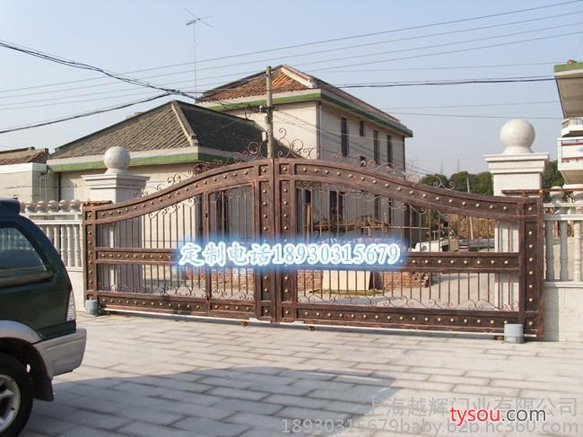 促销上海 黑色金色铁艺别墅大门庭院大门电动平移平开大门
