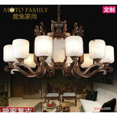 新古典全铜云石灯,手工雕刻复古吊灯,酒店工程灯饰定做
