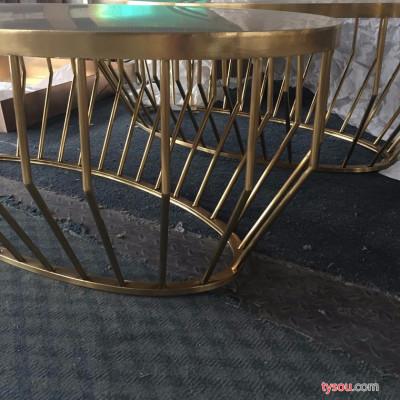厂家供应不锈钢镀黄铜茶几 现代款式镀铜茶几