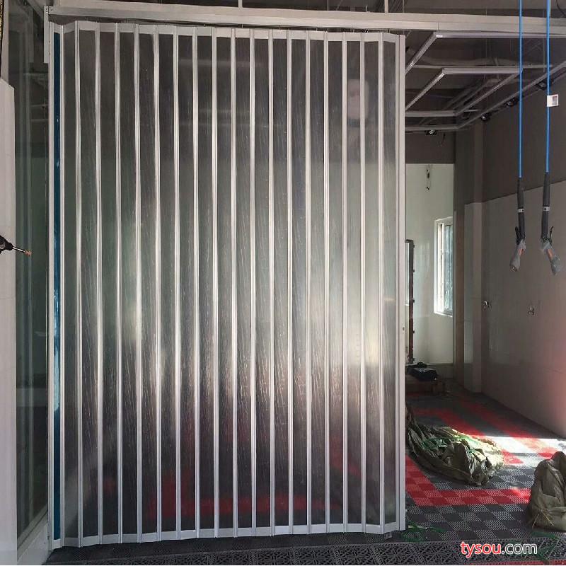 惠江 商铺铝合金折叠门店铺折叠门铝合金水晶透明玻璃推拉门隔断门