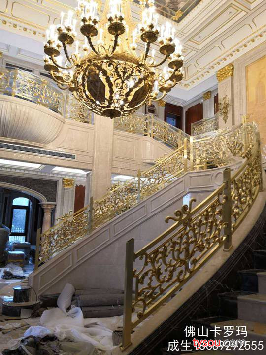 酒店K金别墅玫瑰金铝艺楼梯扶手 公共走廊楼梯护栏