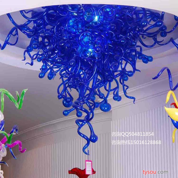 星级酒店大堂吹制玻璃艺术吊灯 高级会所大厅现代玻璃灯