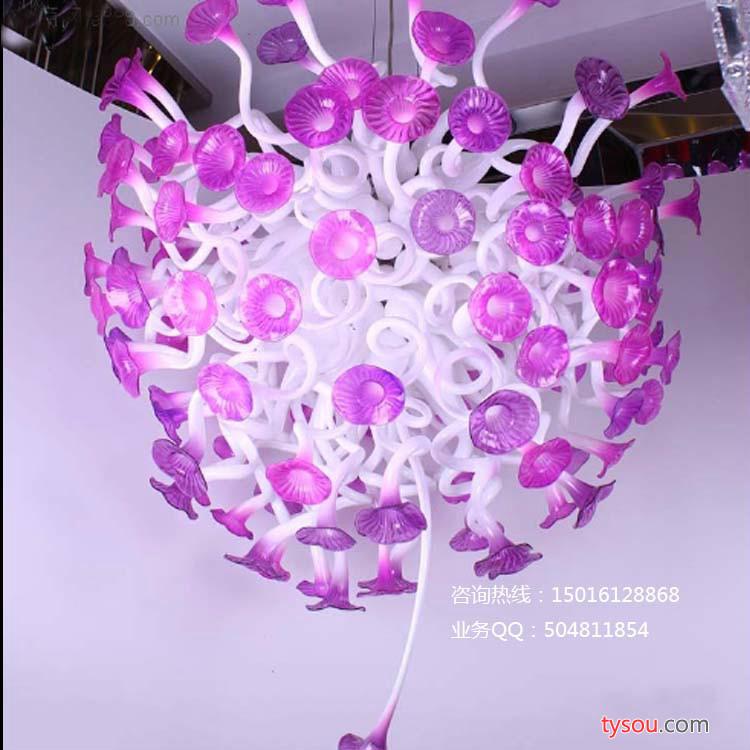 酒店大堂玻璃艺术吊灯 吹制玻璃粉边加奶白色喇叭花工艺吊灯
