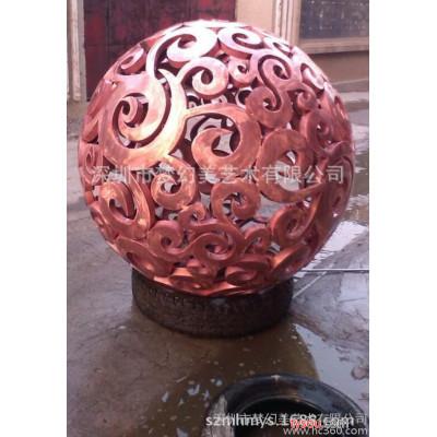 红铜双层立体镂空圆球雕塑 黄铜镂空风水镂空圆球