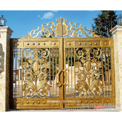 上海豪华铝艺电动遥控大门别墅庭院大门锻造大门烤漆大门