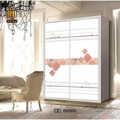 广东佛山衣柜门  玻璃衣柜移门定做 工艺玻璃衣柜门 SC-11011