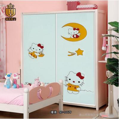广东佛山衣柜门  儿童房衣柜移门定做 强化玻璃衣柜门 SC-11179