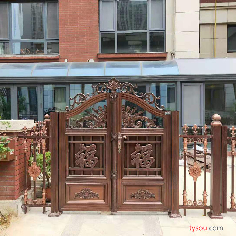 欧式铝艺风格门铝艺电动折叠门  别墅庭院大门  铝合金平开大门