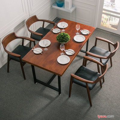 驰联订制款实木家用餐桌实木椅组合现代简约长方形小户型组装饭桌椅子 实木餐桌