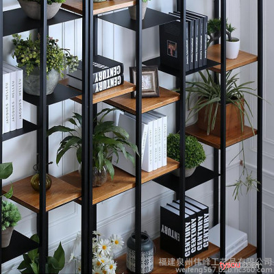 订制欧式新款批发工业风铁艺展示欧式书柜屏风隔断玄关储物置物架