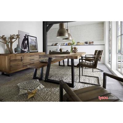 驰联订制批发办公桌咖啡厅实木餐桌椅组合铁艺长方形批发复古家用饭桌