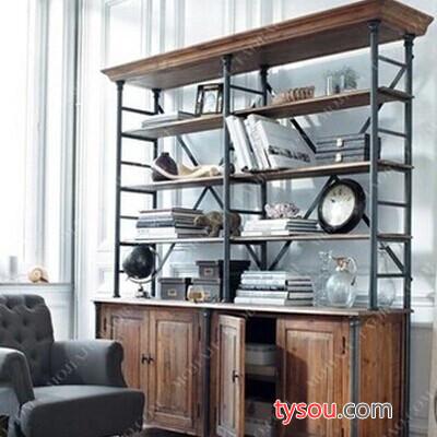 驰联订制复古美式书柜LOFT工业风书架铁艺储物置物架实木隔断展示架子