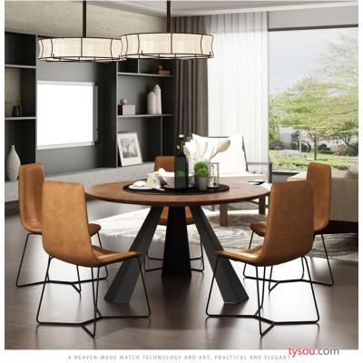驰联欧式实木餐桌铁艺圆桌简约现代圆形桌子餐厅饭店桌椅组合转盘饭桌