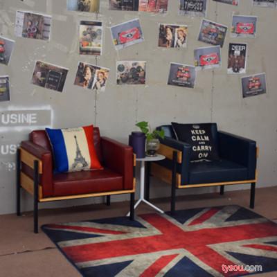 美式乡村沙发LOFT工业风铁艺沙发咖啡厅实木沙发酒吧卡座沙发组合
