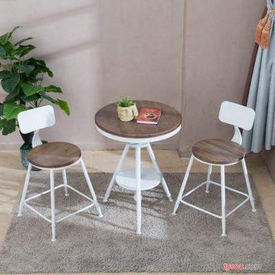 驰联订制现代户外休闲酒吧台铁艺阳台桌椅三件套咖啡厅奶茶店组合桌椅