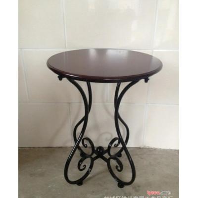 欧式铁艺茶几咖啡桌 小圆桌简约电话沙发木质阳台小桌子田园时尚