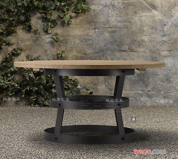实木复古铁艺圆桌茶几咖啡桌做旧边几厨房餐桌室内置物桌尺寸定做