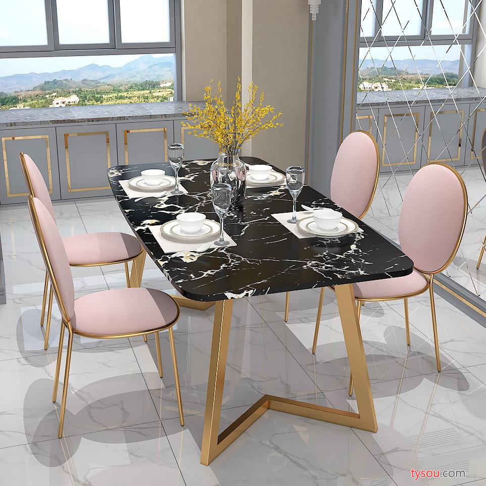 桌子 石桌 北欧大理石餐桌 简约现代客厅餐厅长方形餐桌椅组合