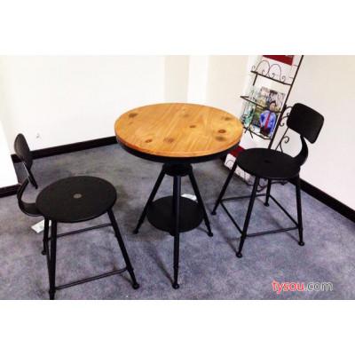 欧式铁艺咖啡桌椅休闲阳台餐桌可升降茶几做旧圆桌复古实木小茶几