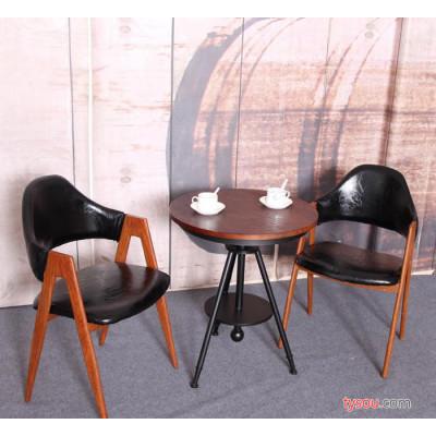 复古西餐厅桌椅咖啡厅阳台小圆桌奶茶店酒店书房餐座椅铁艺A字椅