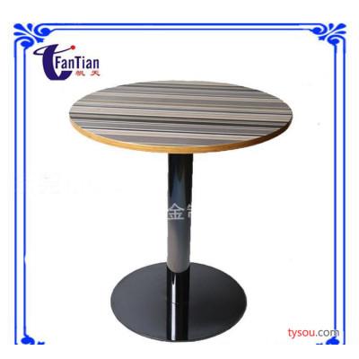 复古实木餐桌配钛黑不锈钢餐桌腿 美式户外黑色铁艺桌圆桌