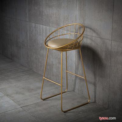 简约吧台椅铁艺吧椅金色高脚凳现代餐椅金属铁线复古酒吧椅子
