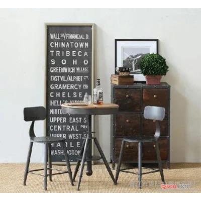 美式铁艺 复古咖啡桌 玻璃桌 咖啡小圆桌 置物桌 直销定做