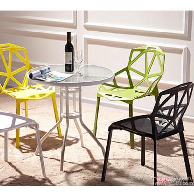 钢化玻璃圆桌洽谈桌椅组合 户外小桌子现代简约铁艺餐桌