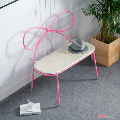 粉色双人蝴蝶椅化妆品店椅子客厅靠背椅美甲咖啡厅甜品店铁艺长椅