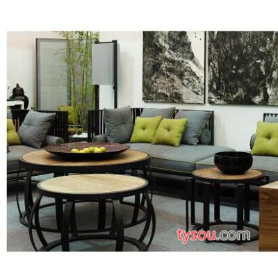复古怀旧圆形茶几 简易客厅小圆桌子 时尚实木铁艺泡茶桌简约茶台