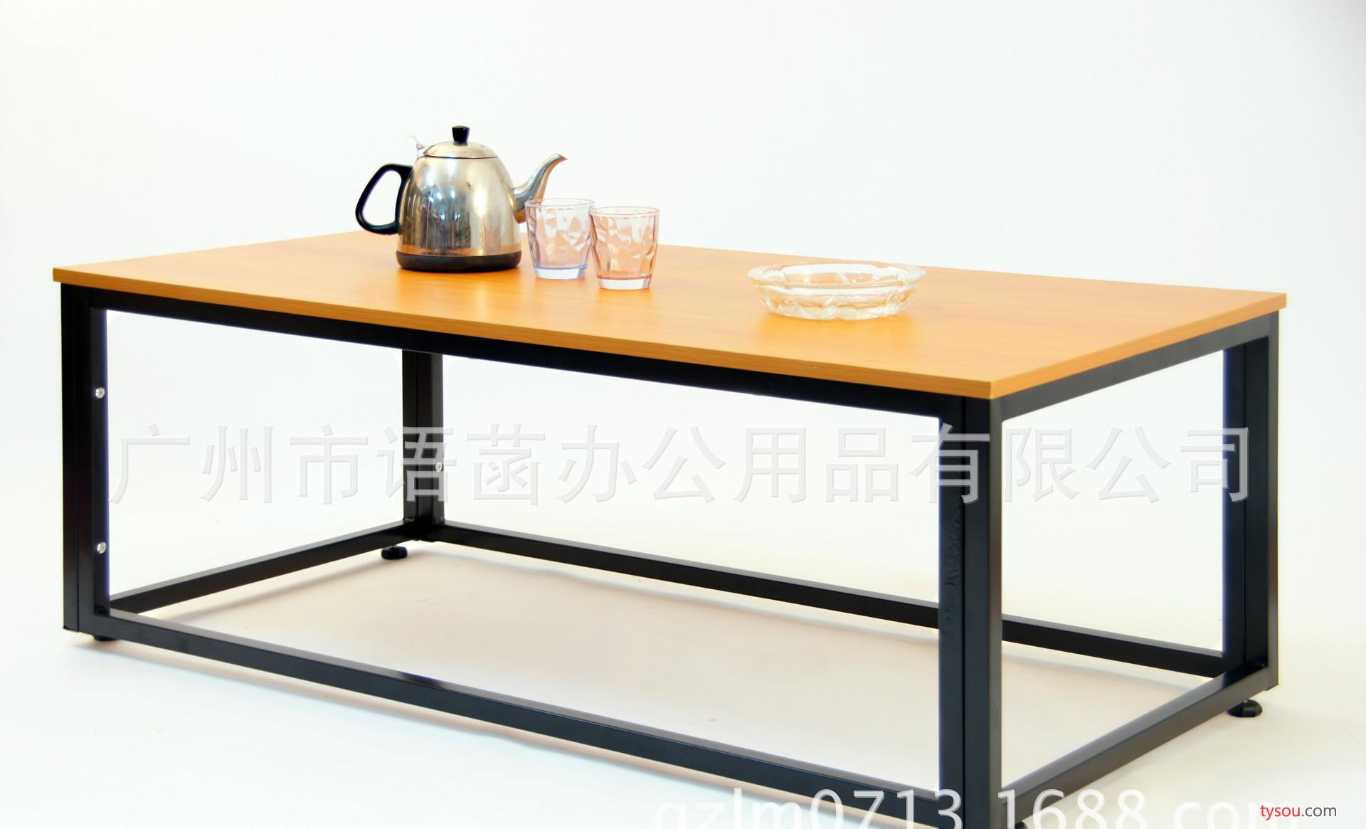 现代中式简易稳固结实大茶几 咖啡厅铁艺茶几 创意长方形木茶几