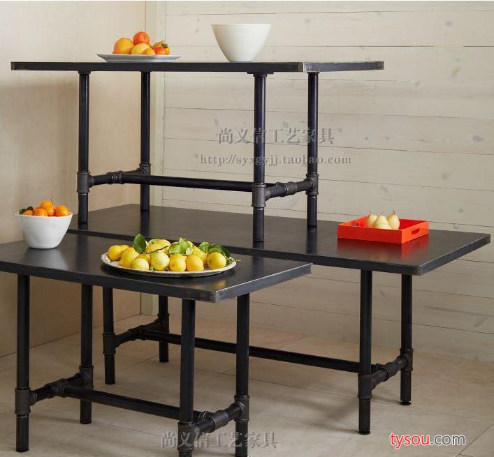 美式乡村复古实木桌铁艺水管悬接铁板桌面 餐桌 工作茶几办公桌