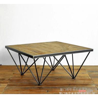 简约loft铁艺实木桌子茶几咖啡桌方形茶几奶茶店甜品店实木桌