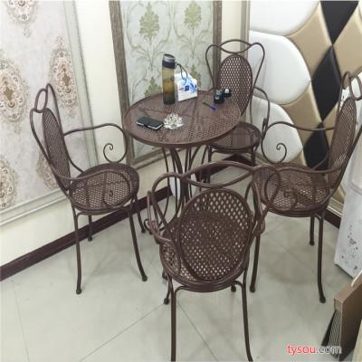 定制            铭仁美式铁艺户外阳台休闲茶几桌椅组合桌椅三件套餐饮咖啡店桌椅