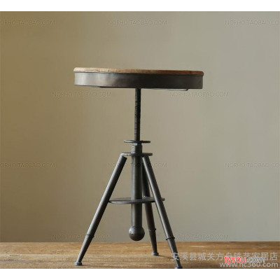 批发做旧铁艺咖啡桌椅可升降茶几复古实木茶几 支持定做