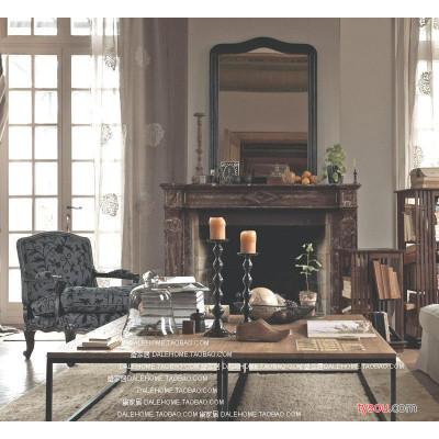 仿古做旧铁艺休闲桌 复古时尚做旧茶几边桌创意简约实木桌子定制
