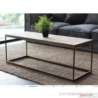 特价复古金属风格铁艺家具法式茶几美式乡村木简约铜色做旧桌子