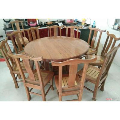 复古铁艺圆形餐桌定做 家用实木饭店酒店大餐桌创意圆茶几桌子