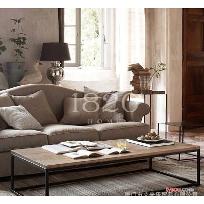 1820出口法国原单实木家具 北欧loft混搭 铁艺实木咖啡桌实木茶几