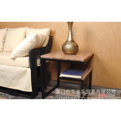 定制酒店家具欧式铁艺仿古茶几客厅实木正方形茶几办公边几茶几