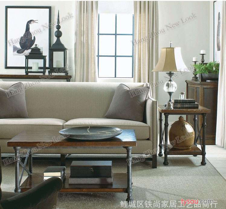 复古做旧铁艺实木茶几客厅沙发茶桌简约休闲咖啡桌小木桌方桌定做