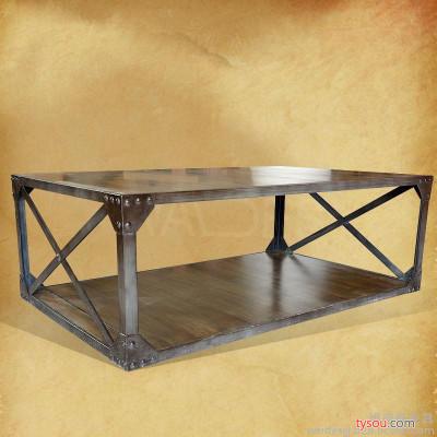 北欧乡村复古铁艺双层茶几 实厚实木做旧方几 仿古铸铁工业风家具