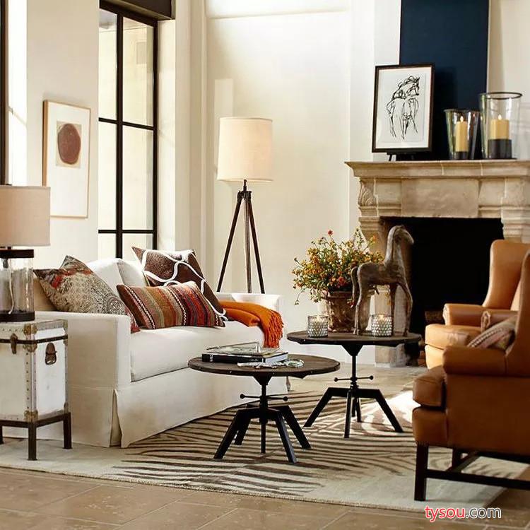 美式创意铁艺可升降实木茶几 复古做旧休闲家用客厅咖啡小桌子
