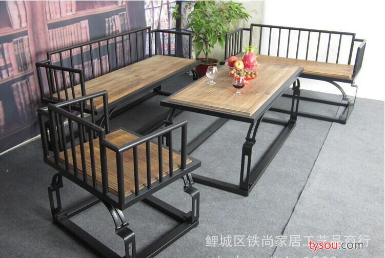 铁艺实木茶几复古沙发椅沙发床套件组合休闲桌椅实木沙发 定做