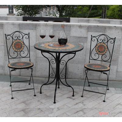 铁艺马赛克桌椅户外阳台休闲田园现代马赛克桌椅组合三件套小茶几