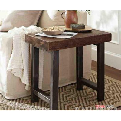 美式乡村铁艺茶几实木做旧茶几防锈复古边几 角几休闲咖啡桌子