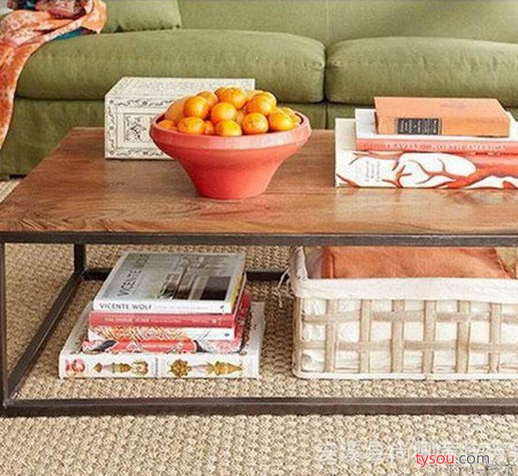 美式复古做旧铁艺茶几客厅简约时尚实木茶几小桌子 长方形边几