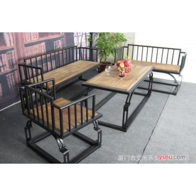 美式乡村铁艺咖啡厅桌铁艺咖啡桌椅桌椅茶几组合庭院桌椅loft桌椅