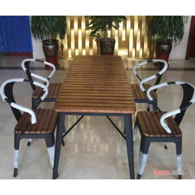 阳台小户庭院餐桌椅铁艺实木咖啡厅休闲桌椅茶几复古餐厅桌椅组合