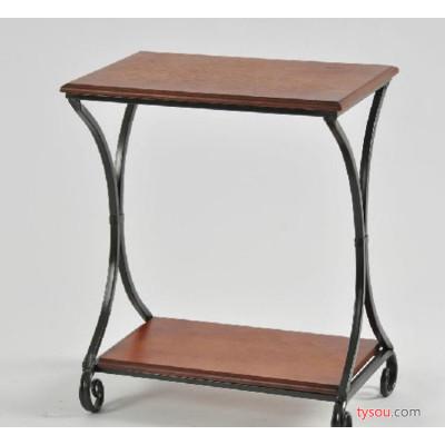 代理加盟  美式铁艺双层木板小茶几长方形桌床头电话架茶几